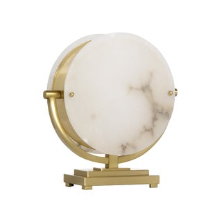 Contemporary Wildwood Alabaster Moon Lamp