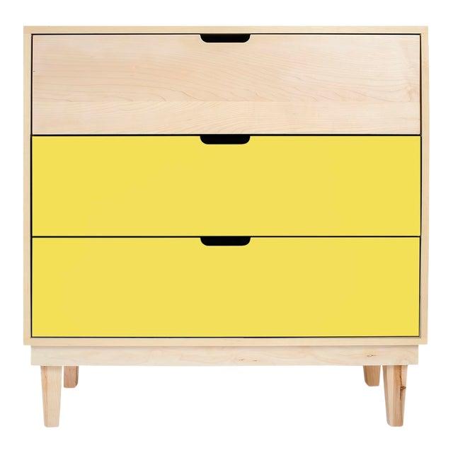 Nico & Yeye Kabano Modern Kids 3-Drawer Dresser Solid Maple and Maple Veneers Yellow For Sale