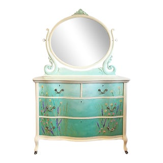 Vintage Teal Floral Dresser & Mirror For Sale