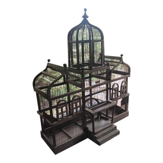 Antique Victorian Iron Wire & Wood Mansion Style English Folk Art Bird Cage For Sale