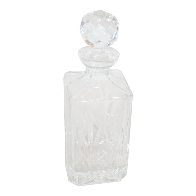 Crystal Faceted Square Decanter For Sale
