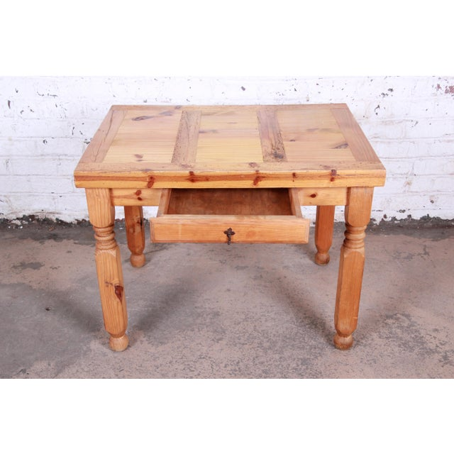 Vintage Rustic Solid Pine Writing Desk For Sale - Image 4 of 11