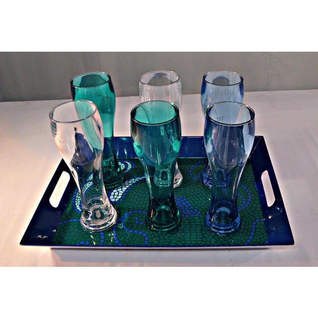 """Colorful set of six acrylic beer glasses that pair with a mosaic-motif tray featuring built-in handles. Glasses, 3.5""""D x..."""