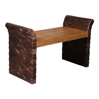 Bark Design Vanity Chair with Wood Seat - Antique Copper