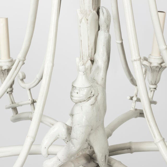 1970s Serge Roche Style White Plaster Chinoiserie Palm Chandelier For Sale - Image 5 of 7