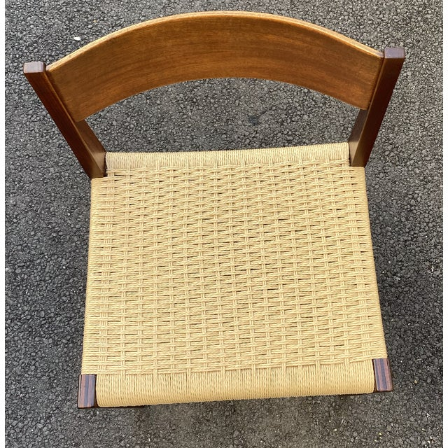 Set of 4 Danish Teak Cord Seat Dining Chairs For Sale In Los Angeles - Image 6 of 12