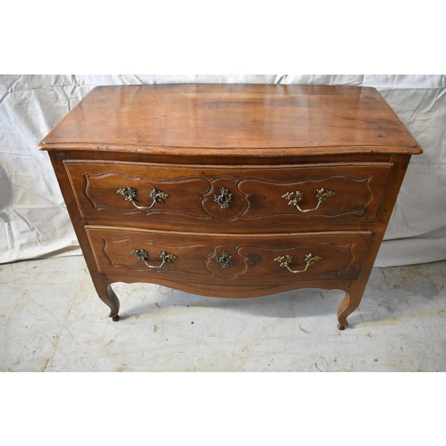 Beautiful late 18th century solid Walnut Italian 2 drawer commode. On Louis the XV style legs with brass hardware this...
