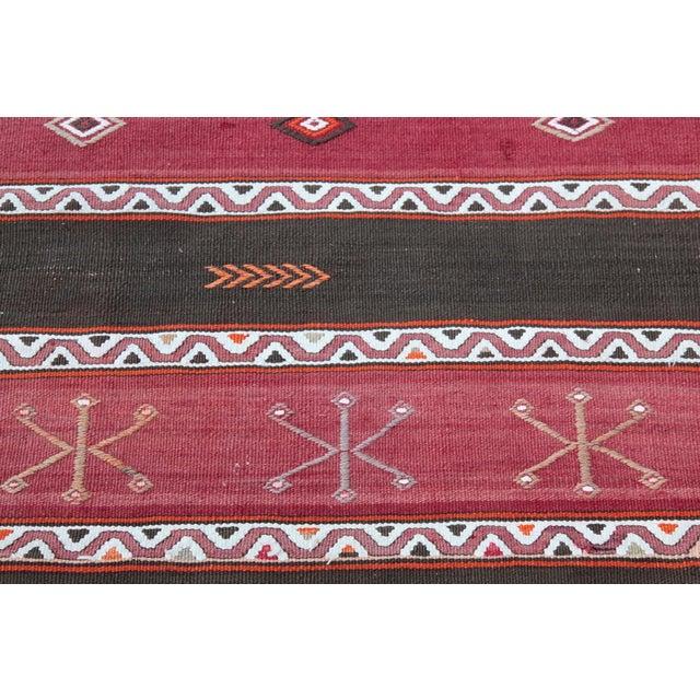 Orange Stripe Design Kilim Rug - 4' 3'' X 2' 6'' For Sale - Image 5 of 11