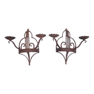Pair of Art Deco Wrought Iron 2 Arm Wall Sconces For Sale