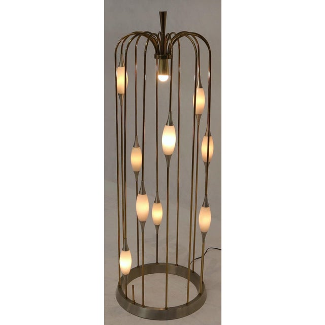Metal Large Waterfall Brass Floor Lamp Light Fixture For Sale - Image 7 of 12