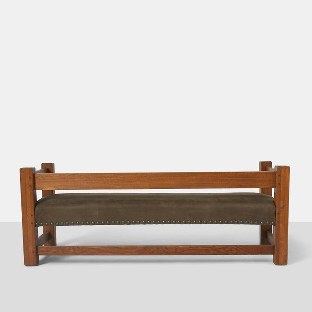 1910s Stickley Brothers Leather Upholstered Oak Sofa For Sale - Image 5 of 8