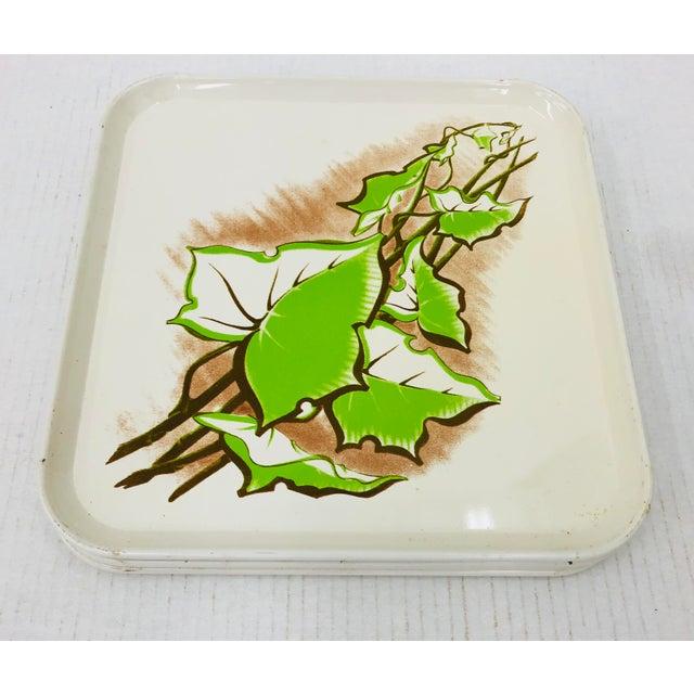 Green Vintage Set Metal Serving Trays For Sale - Image 8 of 8