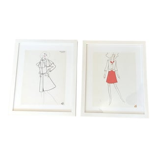 1970s Original Fashion Drawings by Jean Eden - a Pair