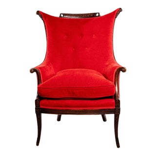 Tufted Red Velvet Chenille and Wood Lounge Chair For Sale