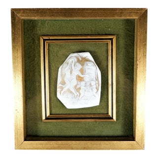 Vintage Cameo Shell Fragment of Nude Women Dancing, Framed For Sale