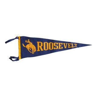Vintage Roosevelt Felt Flag For Sale