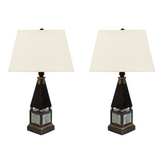Pair of 'Hollywood Regency' Obelisk Lamps For Sale