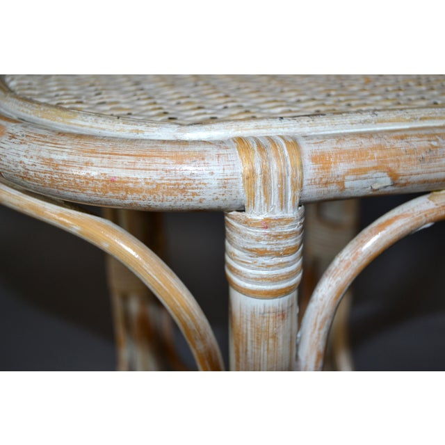 1970s Vintage Bamboo & Cane White Washed Side Table, End Table For Sale - Image 5 of 10