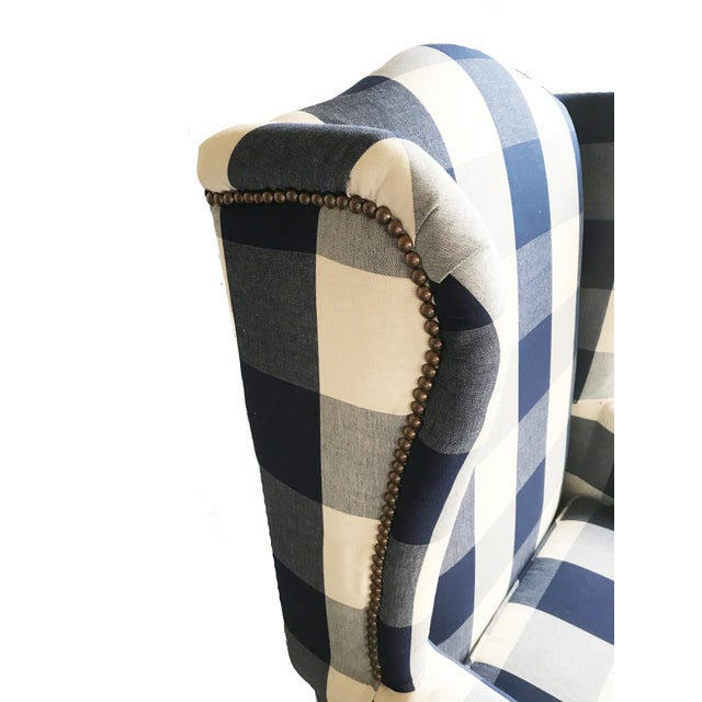 Buffalo Check Wingback Chair - Image 4 of 6