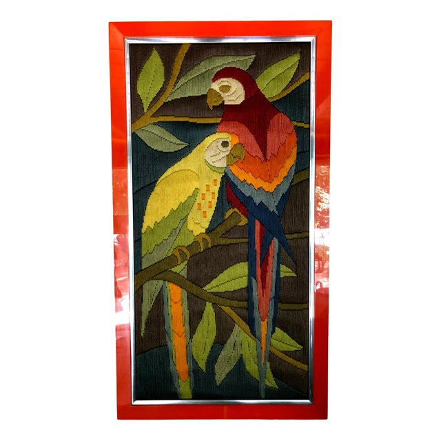 Mid-Century Modern Hand Crafted Parrot Needlepoint Artwork in Lucite Frame For Sale