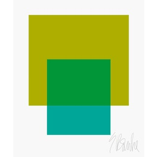 """The Interaction of Green and Teal Fine Art Print 25"""" X 30"""" by Liz Roache For Sale"""