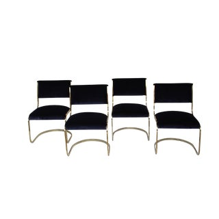 1970s Vintage Brass and Velvet Chairs- Set of 4 For Sale
