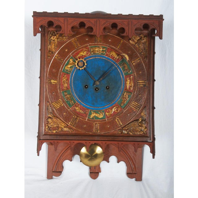Wood 19th Century Danish Wooden Zodiac Clock in Gothic Style For Sale - Image 7 of 13