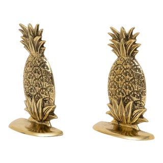 Petit Pineapple Form Bookends in Polished Brass - a Pair For Sale