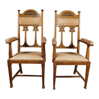 Early 20th Century Vintage English Arts and Crafts Movement Oak Armchairs- A Pair For Sale