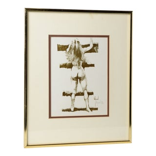 Nude Sepia Lithograph Framed Under Glass Original Signature Raymond For Sale