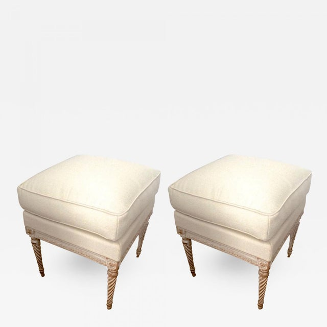 MAISON CARLHIAN pair of stools newly covered in linen cloth.