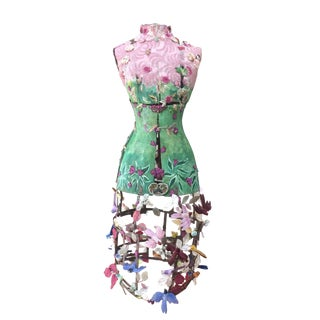 Incredibly Enchanting Mixed-Media Dress Form Sculpture Titled Spring For Sale