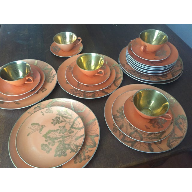 Dorothy Thorpe Persimmon China Set - Set of 67 - Image 9 of 10