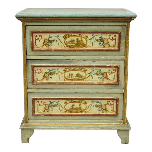 Antique Italian Venetian Blue Painted 3 Drawer Commode Chest of Drawers For Sale
