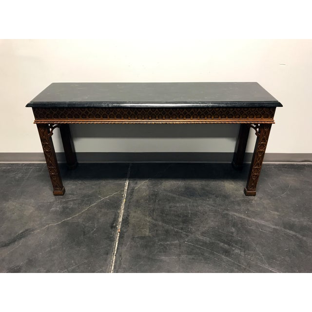 Vintage Carved Mahogany & Tessellated Marble Sofa Table attr to Maitland Smith - Image 7 of 11