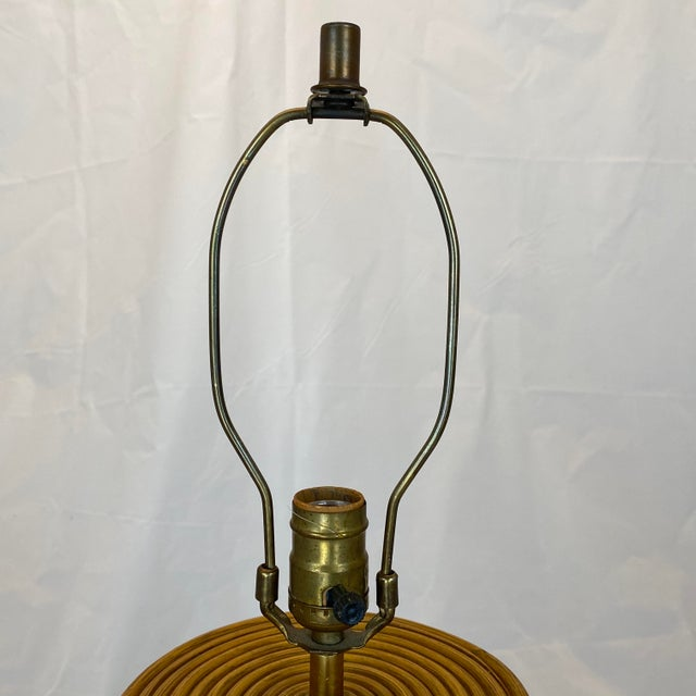 Vintage Gabriella Crespi Style Reeded Rattan Sculptural Table Lamp For Sale - Image 9 of 13
