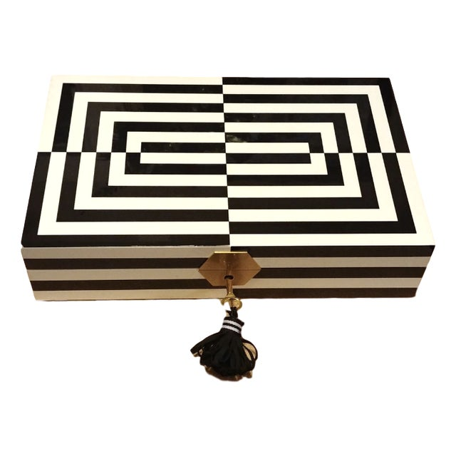 Final Markdown Jonathan Adler Op Art Lacquer Jewelry Box For Sale In Miami - Image 6 of 6