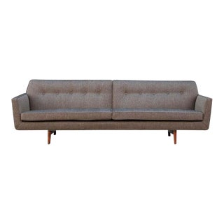 Mid-Century Modern Edward Wormley for Dunbar Gray Tweed Sofa With Walnut Legs For Sale