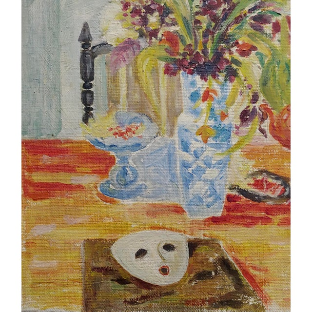 1950s Jules Cavailles -Still Life of Flowers and a Mask -Study Oil Painting-1956 For Sale - Image 5 of 10