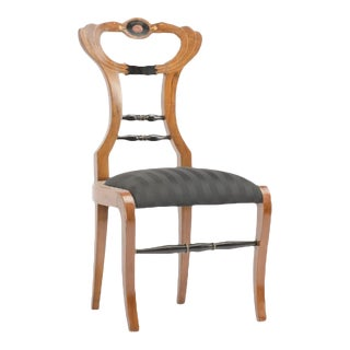 19th Century Biedermeier Chair Upholstered with Black Striped Silk Fabric For Sale