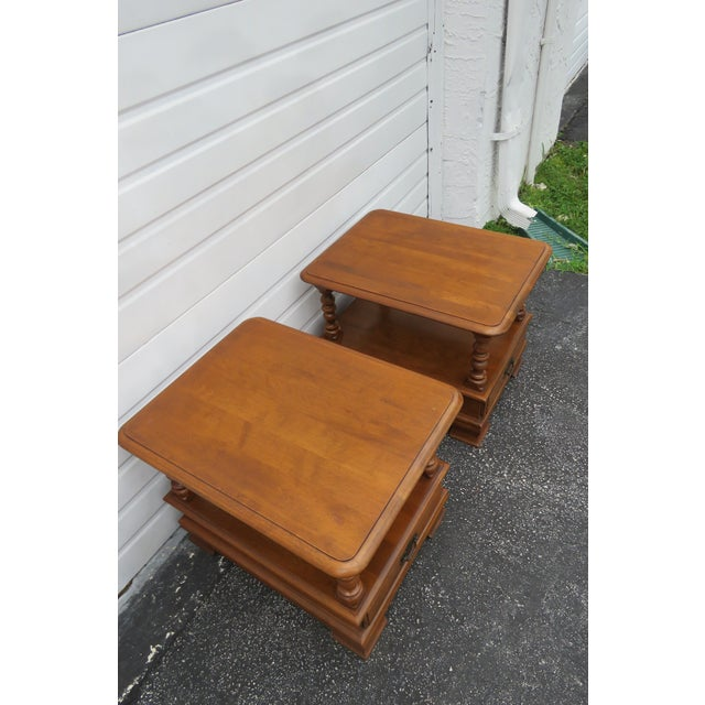 1970s Ethan Allen Solid Maple Pair of Nightstands Side End Tables For Sale - Image 5 of 13