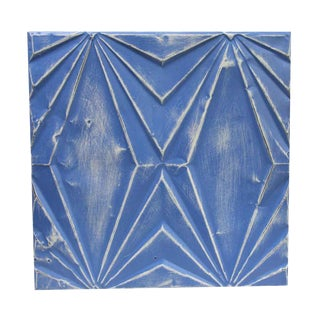 Art Deco Blue Hand Made Tin Panel For Sale
