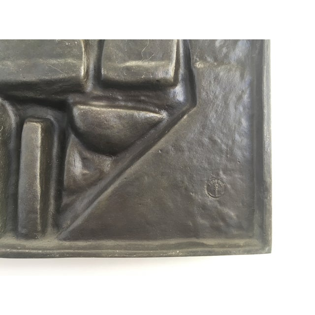 Metal Vintage Abstract Brutalist Metal Wall Sculpture For Sale - Image 7 of 7