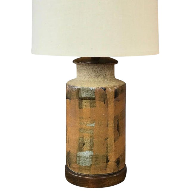 Signed Brent Bennett Glazed Stoneware and Walnut Table Lamp, 1960s For Sale