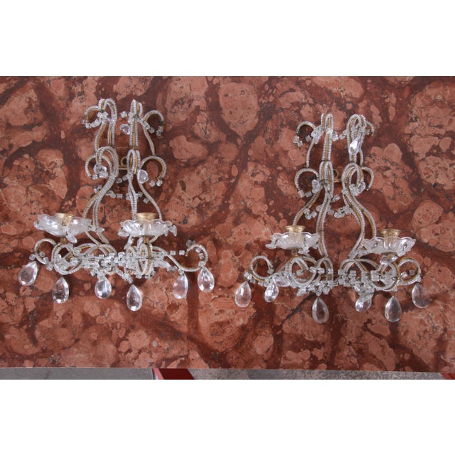Pair of Antique Italian Baroque Wall Sconces in Crystal, Brass, and Gilt Metal For Sale - Image 13 of 13