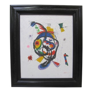 1970s Vintage Joan Miro Style Abstract Oil Painting For Sale