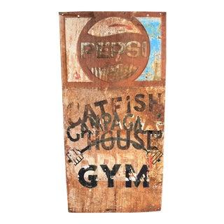Vintage Pepsi Advertising Sign - Repurposed for Catfish Restaurant & Gym
