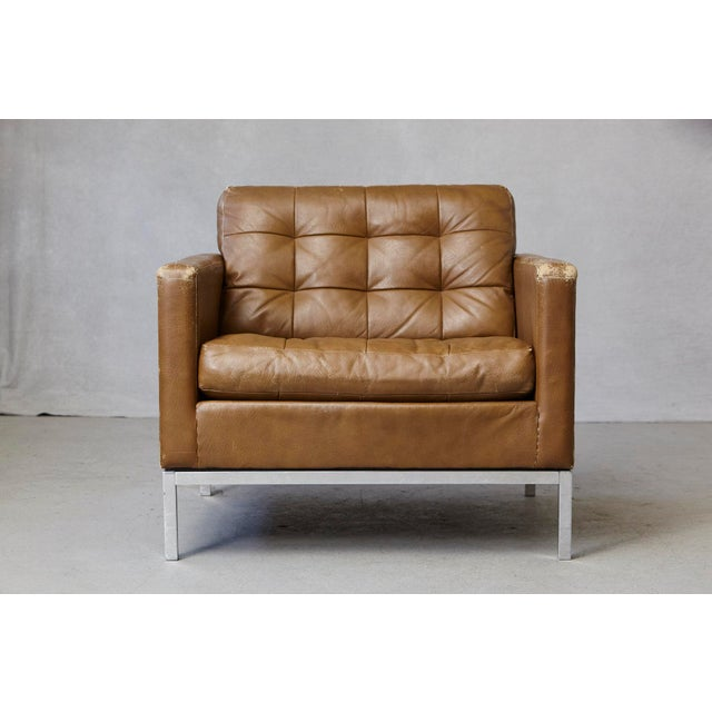 Florence Knoll Tan Leather Button Tufted Lounge Chair, 1970s For Sale - Image 12 of 12