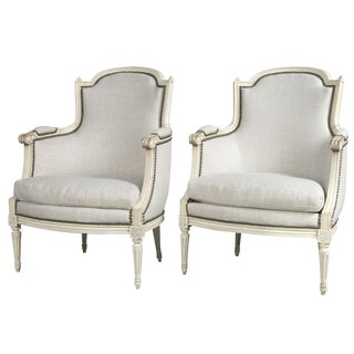 Louis XVI Style French Bergere Chairs - a Pair