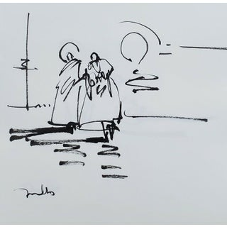Contemporary Minimalist Religious Figurative Ink Drawing from the Saint Series by Jose Trujillo For Sale